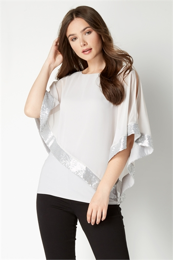 Sequin Trim Overlay Top