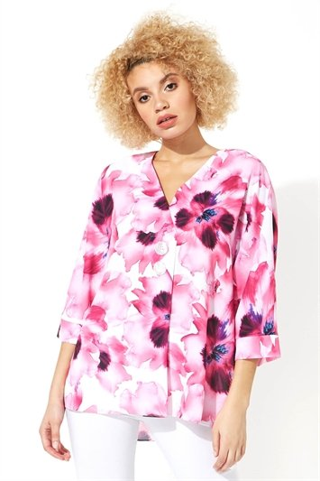 Floral Print Oversized Button Top