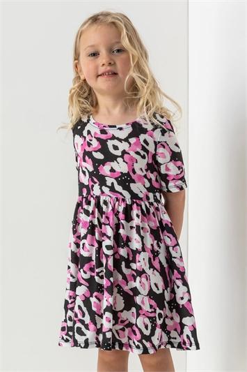 Pink Girls Animal Print Pocket Detail Dress, Image 1 of 5