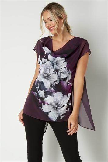 Cowl Chiffon Floral Top