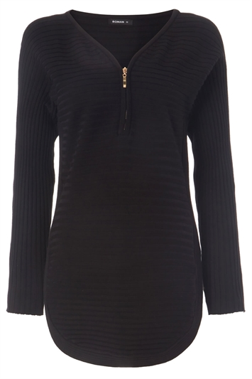 Zip Front Textured Top