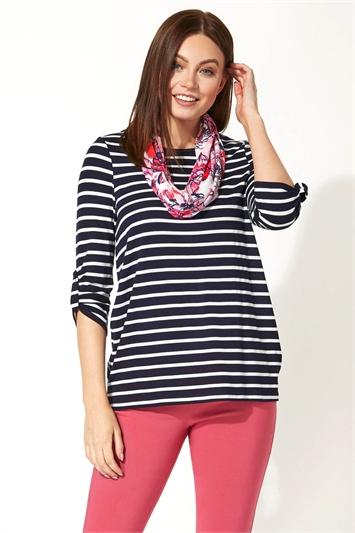 Stripe Print Tunic with Scarf