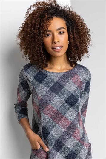 Grey Check Pocket Shift Dress, Image 1 of 4