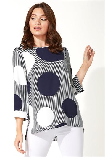 Spot Print 3/4 Sleeve Top