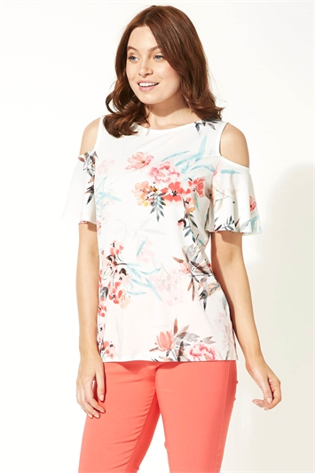 Tropical Floral Cold Shoulder Top