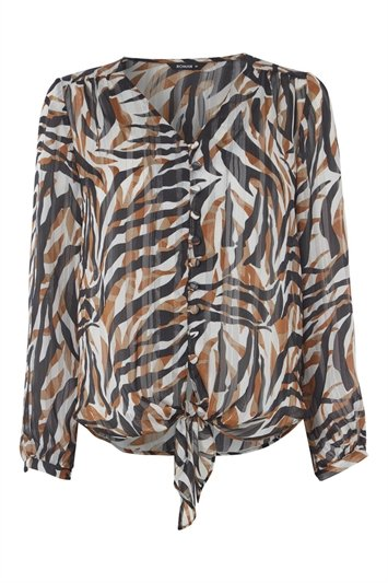 Animal Print Tie Front Blouse