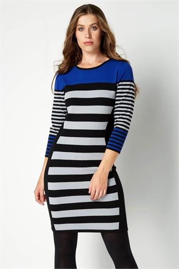 Wide Stripe Knit Dress