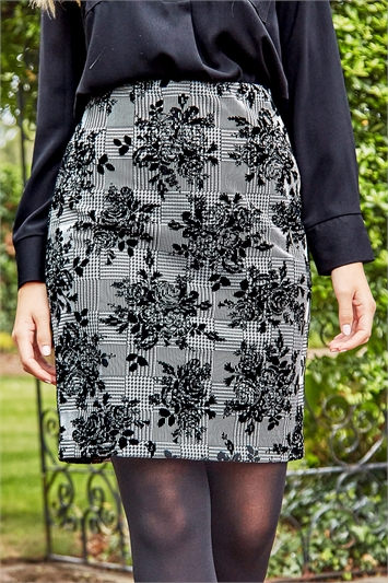 Check Floral Jersey Pencil Skirt