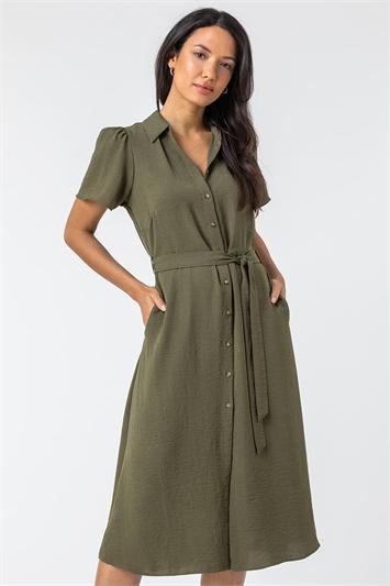 Khaki Belted Pocket Detail Shirt Dress, Image 1 of 5