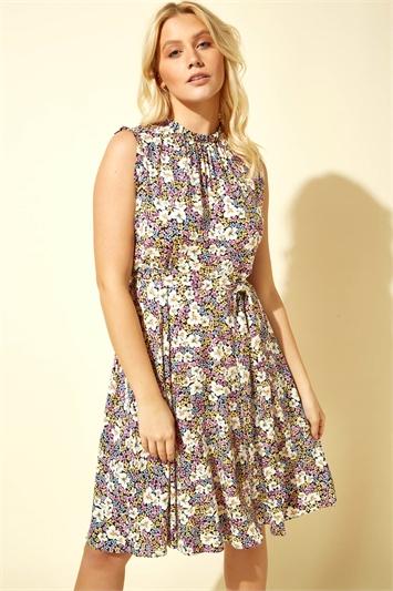 Floral Print Tie Waist Tea Dress