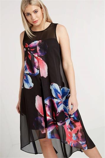 Floral Chiffon Split Swing Dress