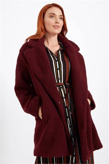 Longline Soft Faux Fur Teddy Coat