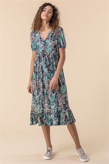 Abstract Snake Print Tiered Dress