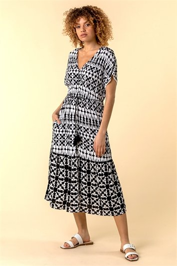 Aztec Button Down Midi Dress