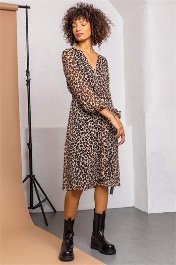Brown Animal Print Belted Wrap Dress