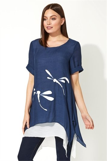 Dragonfly Print Asymmetric Tunic Top