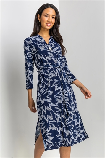 Navy Textured Leaf Print Midi Shirt Dress