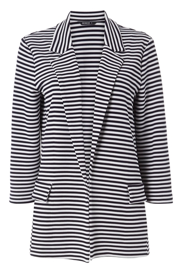 Longline Stripe Jersey Blazer