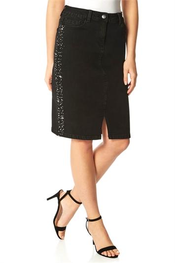 Sparkle Hotfix Denim Skirt