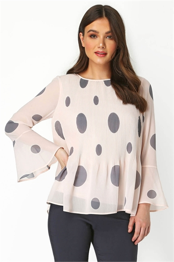 Spot Print Pleated top
