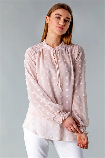 Textured Spot Blouse with Cami Top