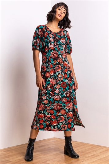 Rust Baroque Floral Print Midi Tea Dress, Image 1 of 5
