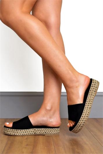 Faux Suede Raffia Flatform Slider Sandals