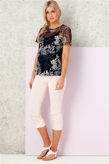 Mesh Floral Embroidered Tee