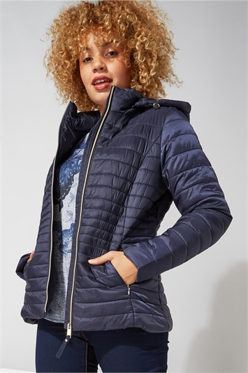 Hooded Zip Through Padded Coat