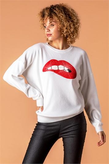 Diamante Embellished Lips Jumper