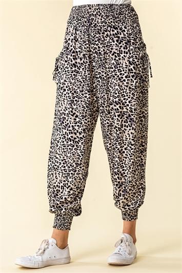 Black Animal Print Hareem Lounge Pants
