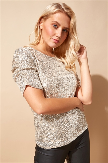 Sequin Ruched Sleeve T-Shirt