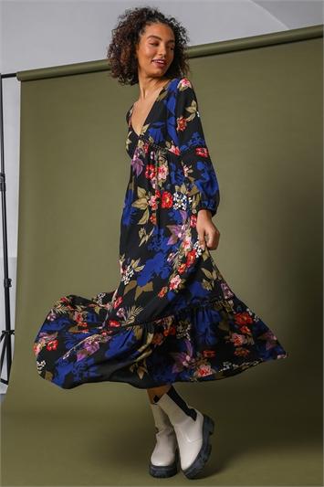 Multi Floral Empire Line Maxi Dress, Image 1 of 5