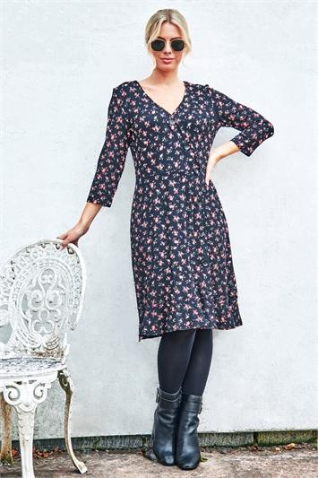 Floral Side Button Fit & Flare Tea Dress