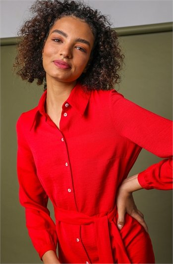 Red Tiered Midi Length Shirt Dress, Image 1 of 5