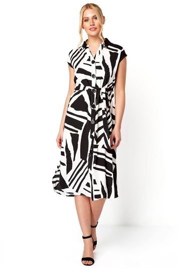 Abstract Print Belted Shirt Midi Dress