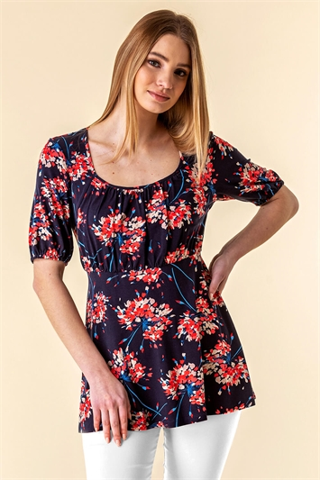 Gathered Front Floral Top