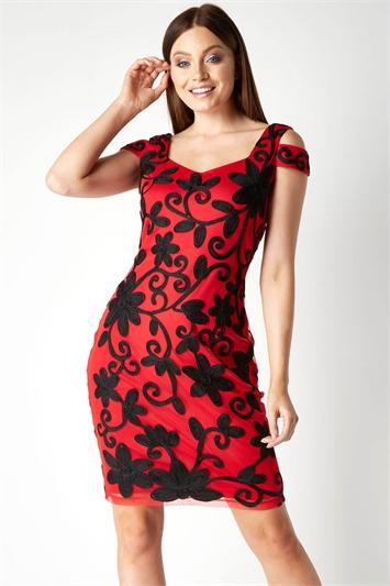 Red Embroidered Cold Shoulder Floral Dress