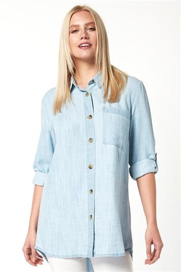 Longline Oversized Button Through Shirt