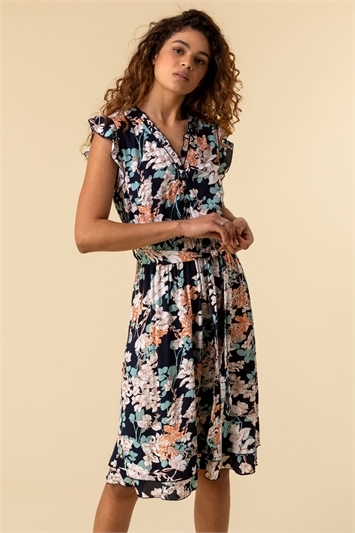Navy Tie Front Frill Detail Dress, Image 1 of 4