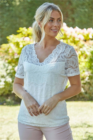 V-Neck Lace Overlay T-Shirt