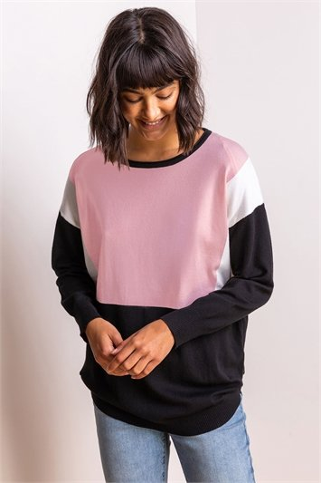 Pink Colour Block Round Neck Jumper, Image 1 of 5