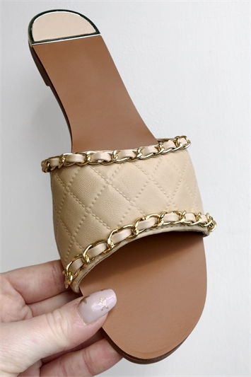 Natural PU Quilted Gold Chain Slider