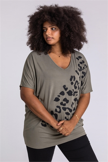 Khaki Curve Embellished Animal Print T-Shirt, Image 1 of 4