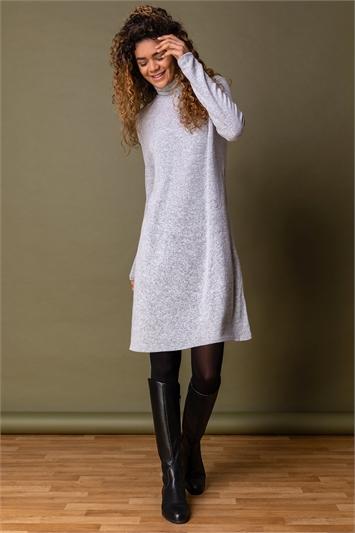 Light Grey Soft Knit Roll Neck Dress, Image 1 of 5