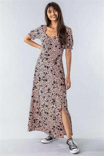 Light Pink Animal Floral Print Maxi Tea Dress, Image 1 of 4