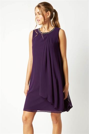 Embellished Neck Swing Dress