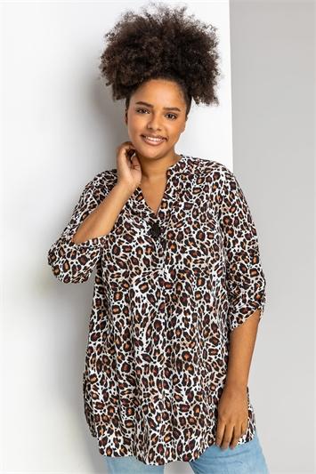 Brown Curve Animal Print Tunic Top