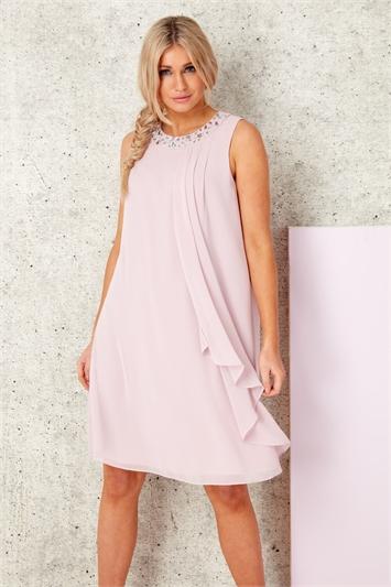 Embellished Neck Chiffon Dress