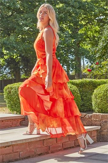 Tie Dye Print Layer Midi Dress